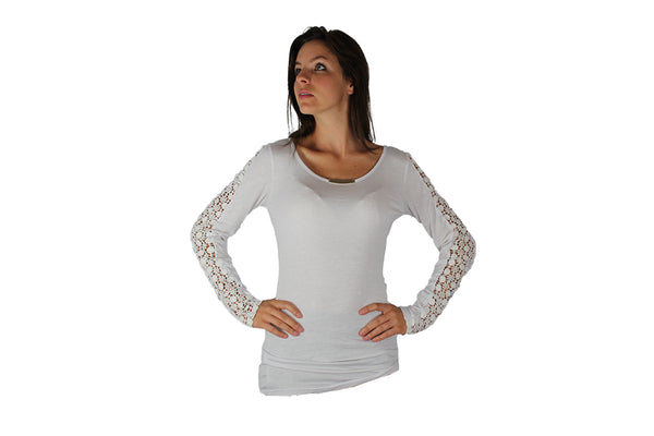 White Long Sleeve Top With Lace Sleeves & Gold Bar - BuyAbility South Africa