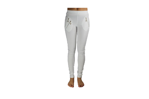 Ladies Long White Stretch Pants - BuyAbility
