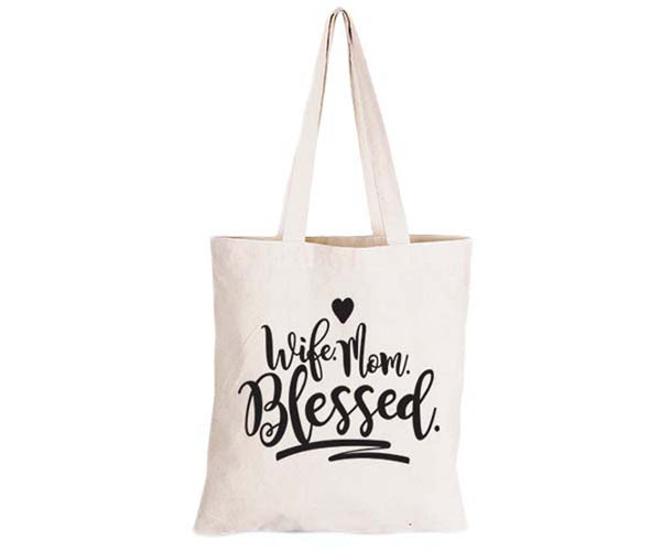 Wife. Mom. Blessed - - Eco-Cotton Natural Fibre Bag - BuyAbility South Africa