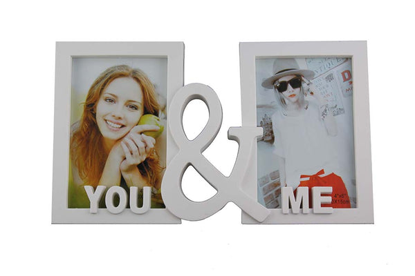 You & Me White Double Photo Frame