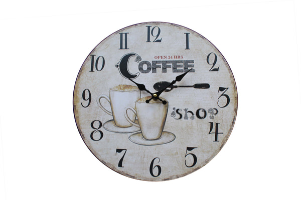 Open 24 Hrs, Coffee Shop Themed Wall Clock - BuyAbility South Africa