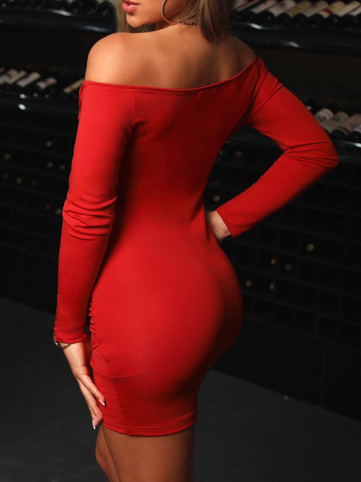 Red Ruched