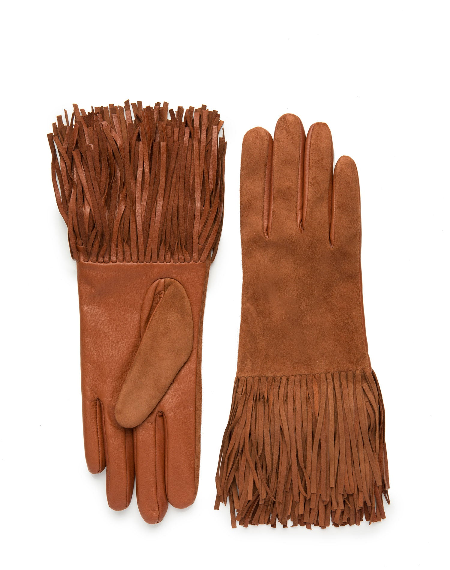 womens camel leather/suede cashmere wool blend lined wrist length glove