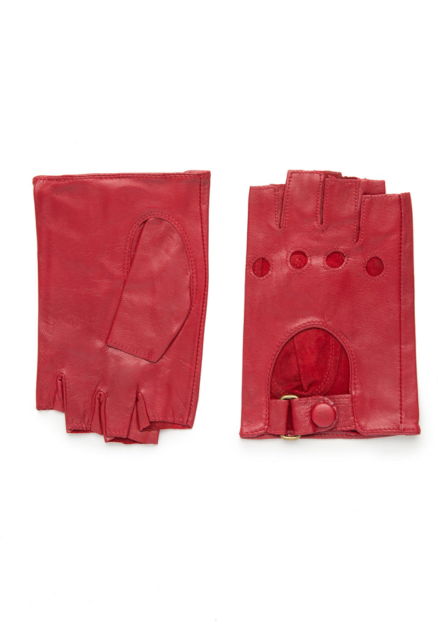 womens red leather unlined wrist length glove