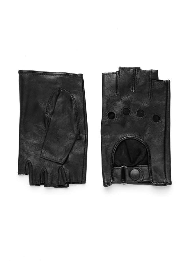 womens black leather unlined wrist length glove