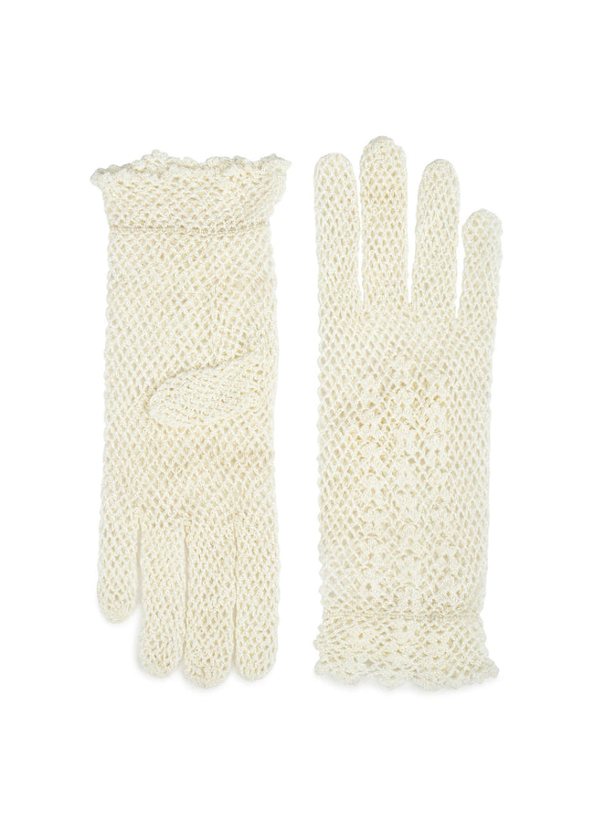 womens white crochet wrist length glove