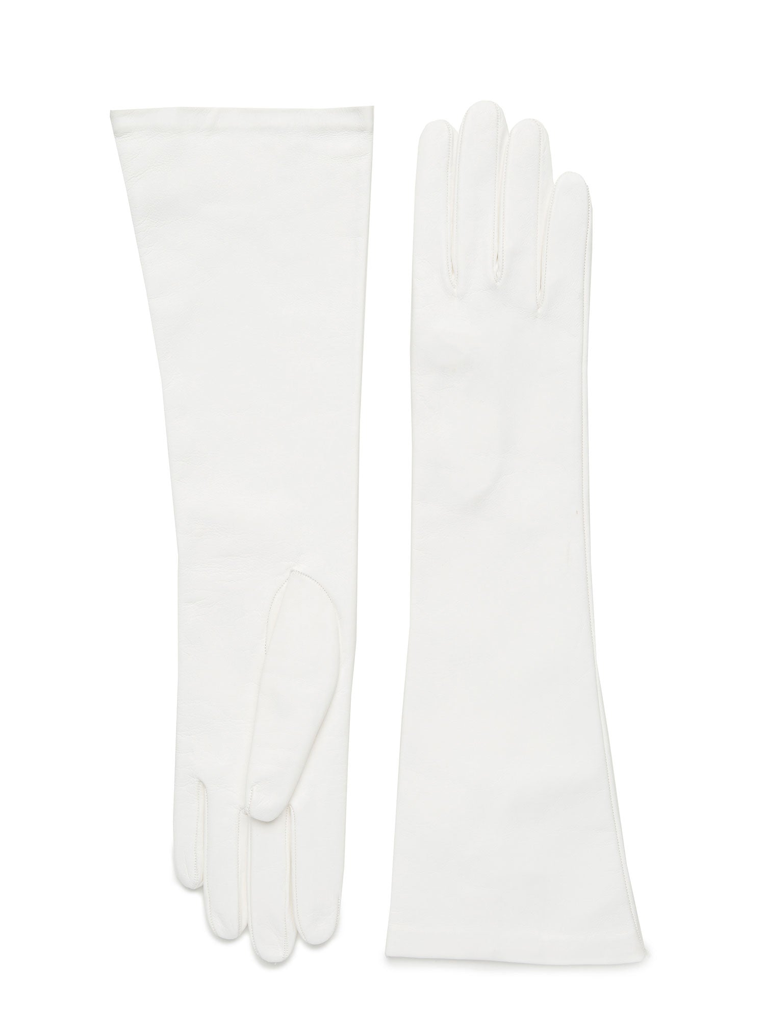 Womens white lambskin silk lined elbow length glove made in Italy