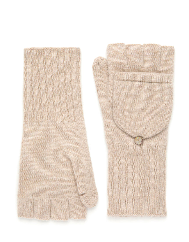 womens oatmeal 100% cashmere over the wrist length glove
