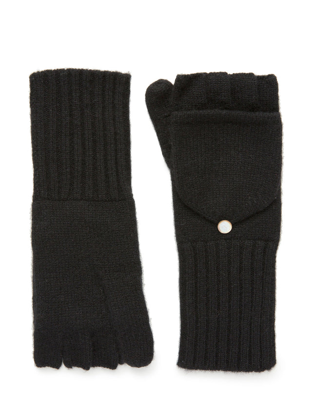 womens black 100% cashmere over the wrist length glove
