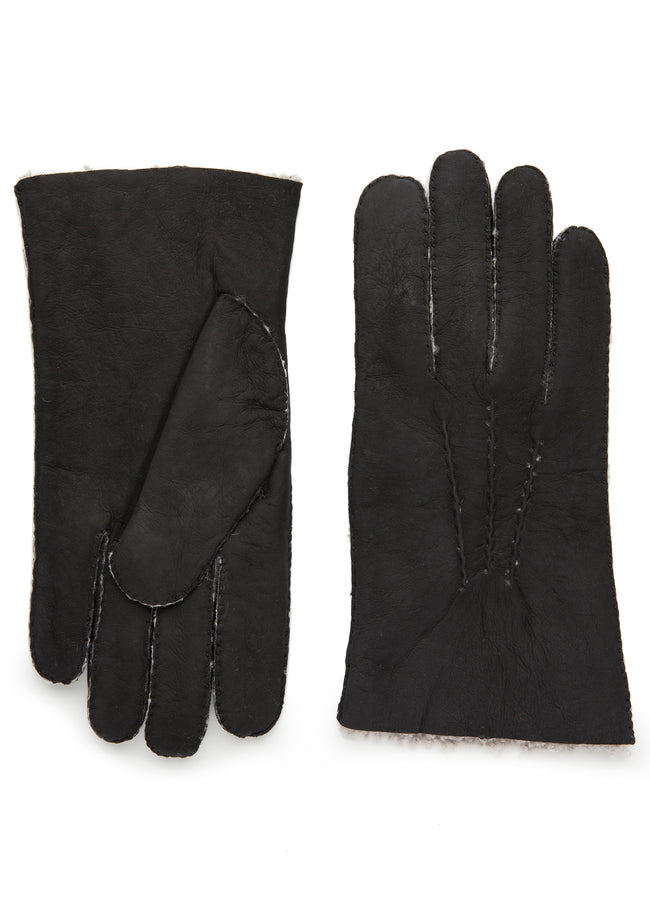 mens black shearling wrist length glove