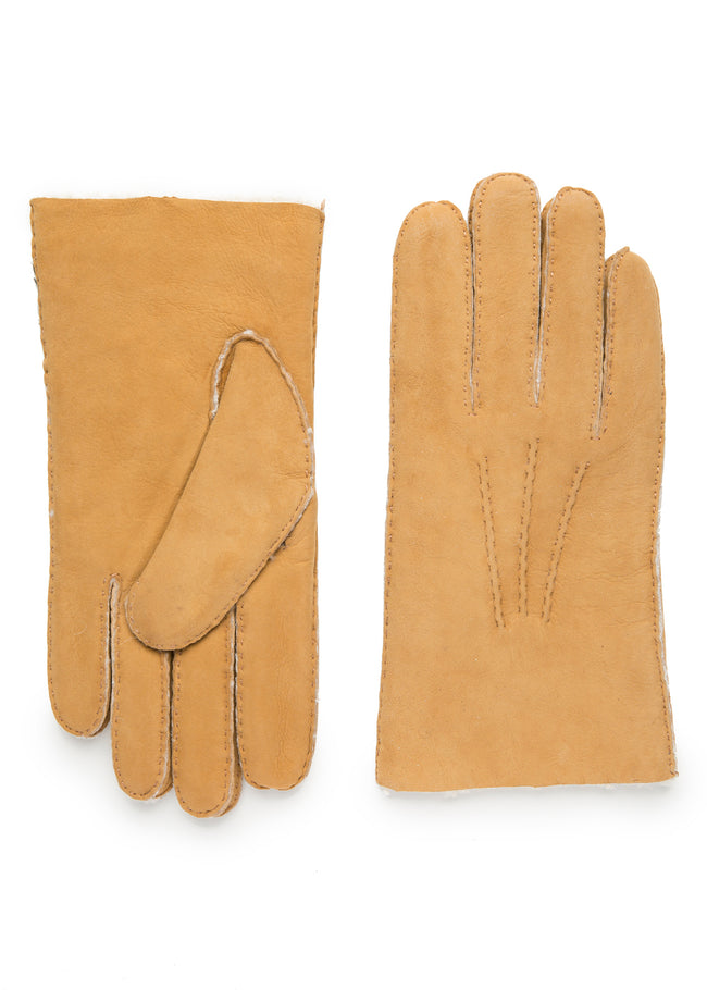 mens natural shearling wrist length glove