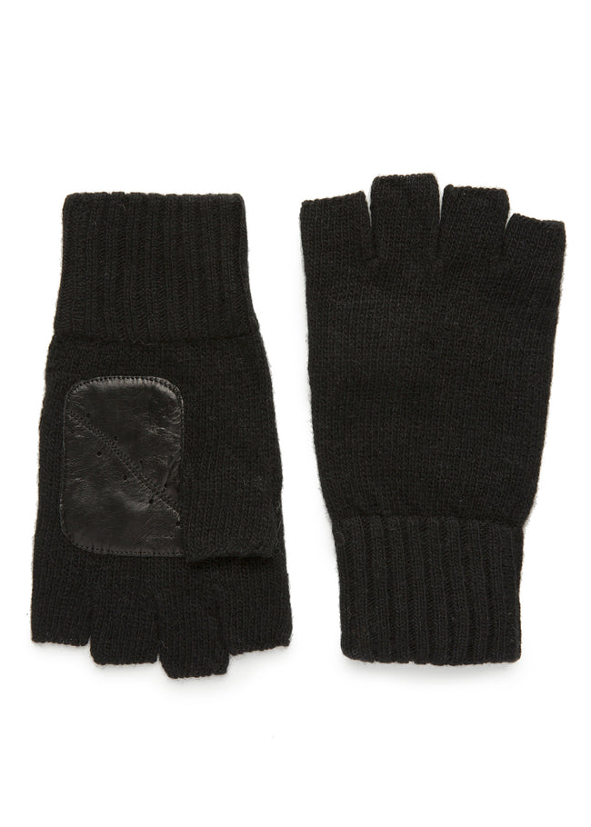 mens black cashmere knit wrist length fingerless glove