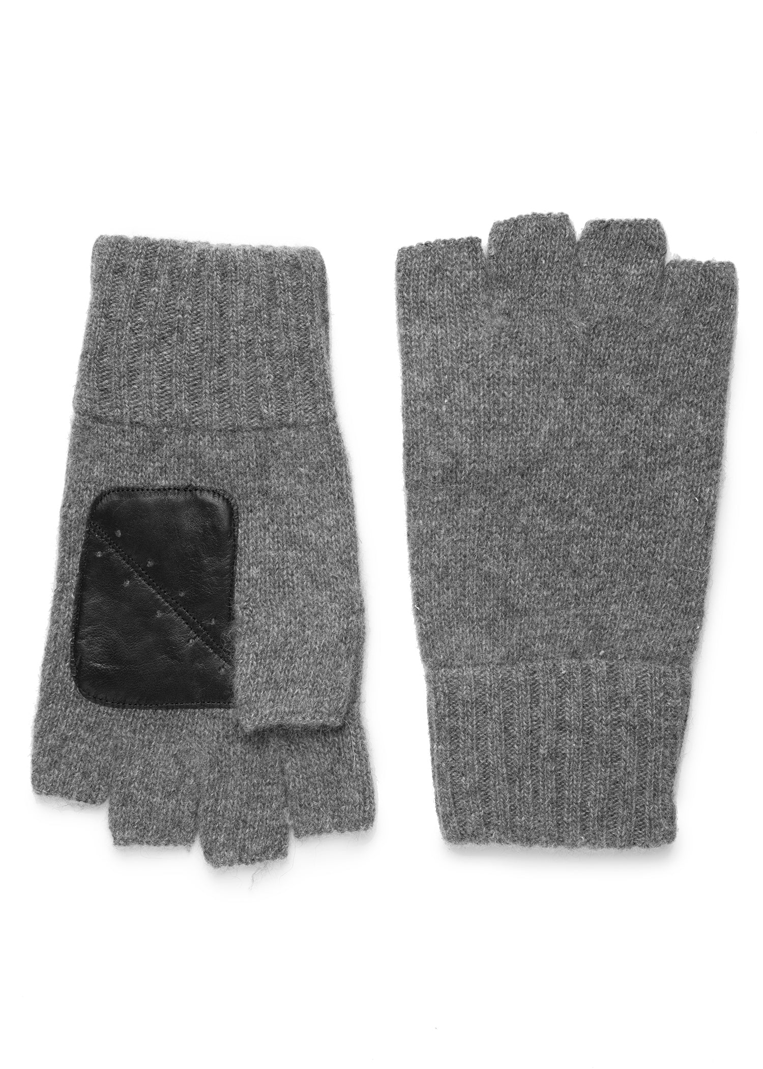 mens gray cashmere knit wrist length fingerless glove