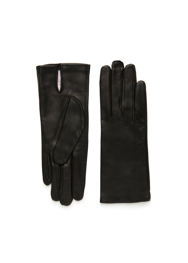 womens black lambskin silk lined wrist length glove made in Italy