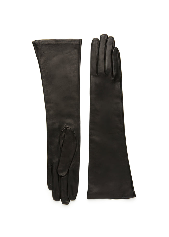 Womens black lambskin silk lined elbow length glove made in Italy