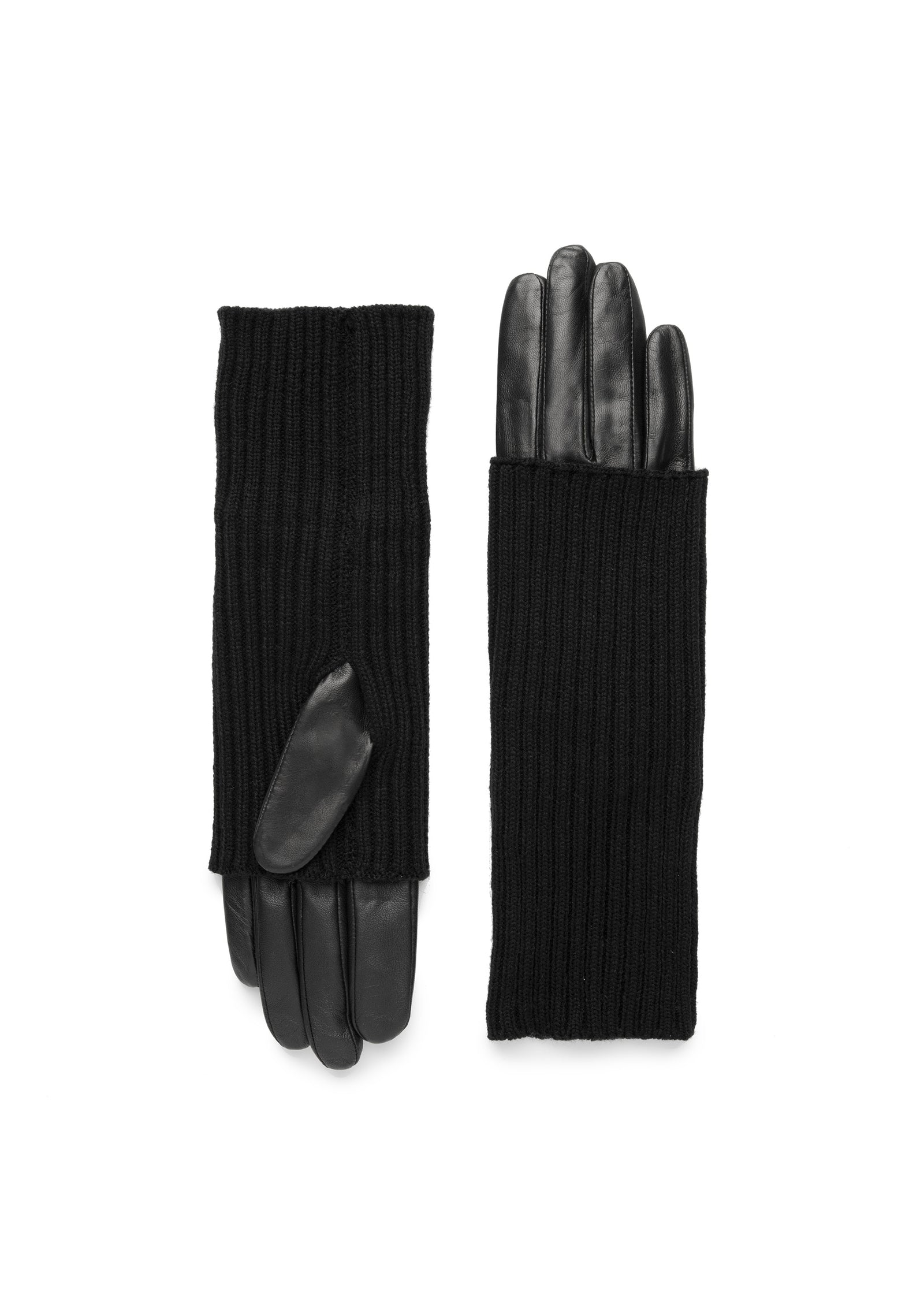 womens black lambskin wool overlay rayon lined under the elbow length glove