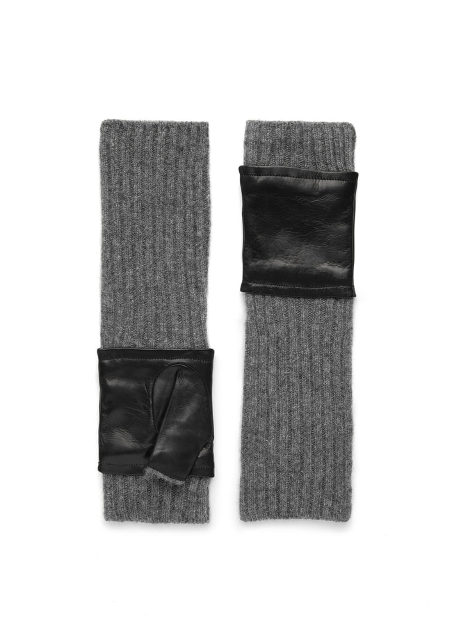 womens gray black leather and knit cashmere blend under the elbow glove