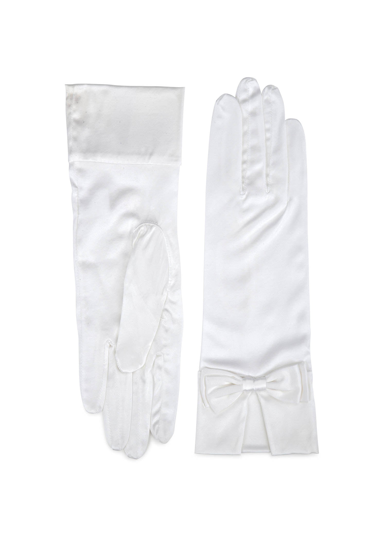 womens white silk wrist length glove