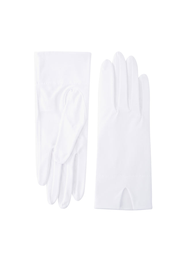 womens white polycotton wrist length glove