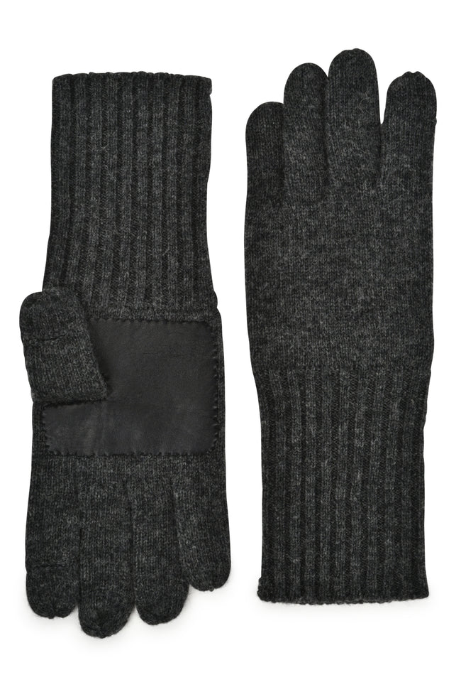 mens charcoal wool blend knit over the wrist length glove