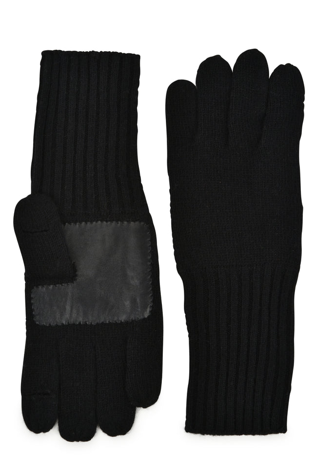 mens black wool blend knit over the wrist length glove