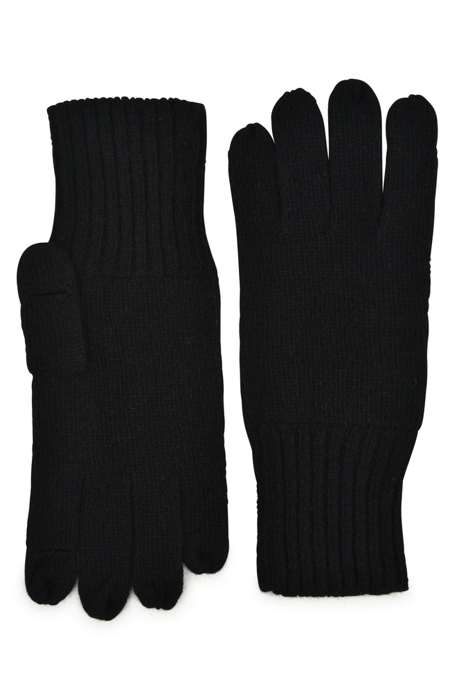 mens black cashmere knit wrist length holed it glove