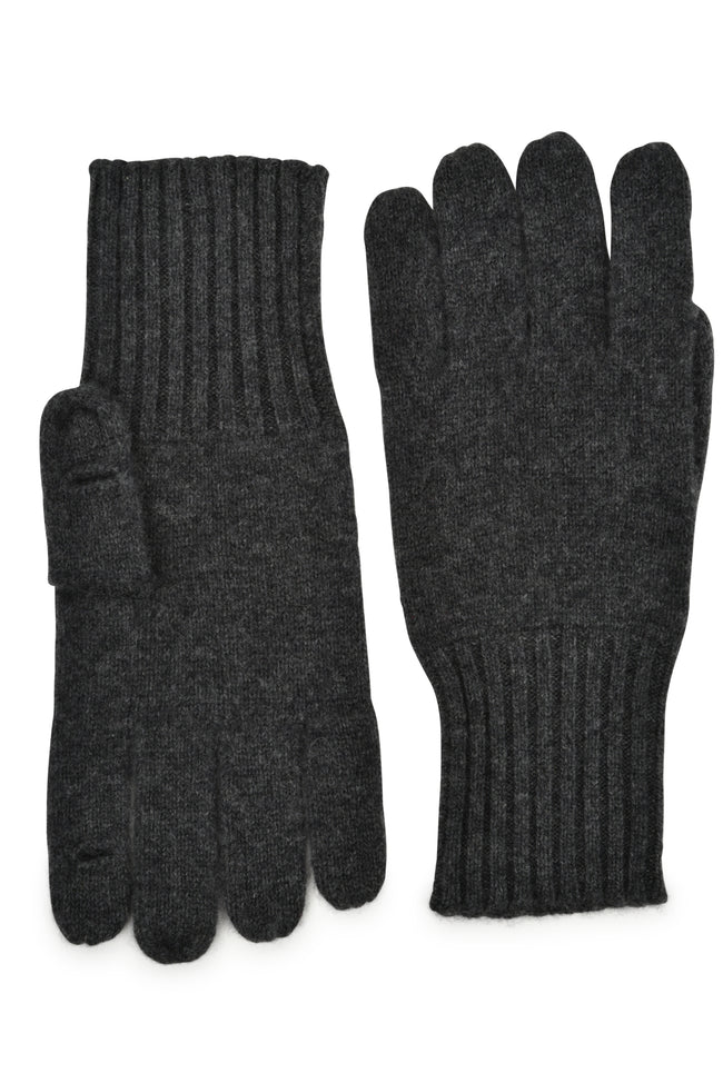 mens charcoal cashmere knit wrist length holed it glove