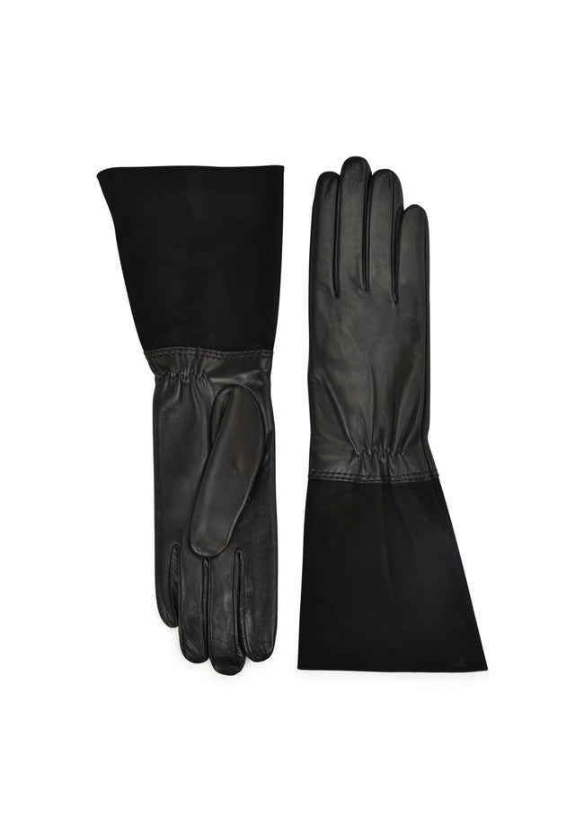 womens black lambskin / suede silk lined below elbow length glove made in Italy