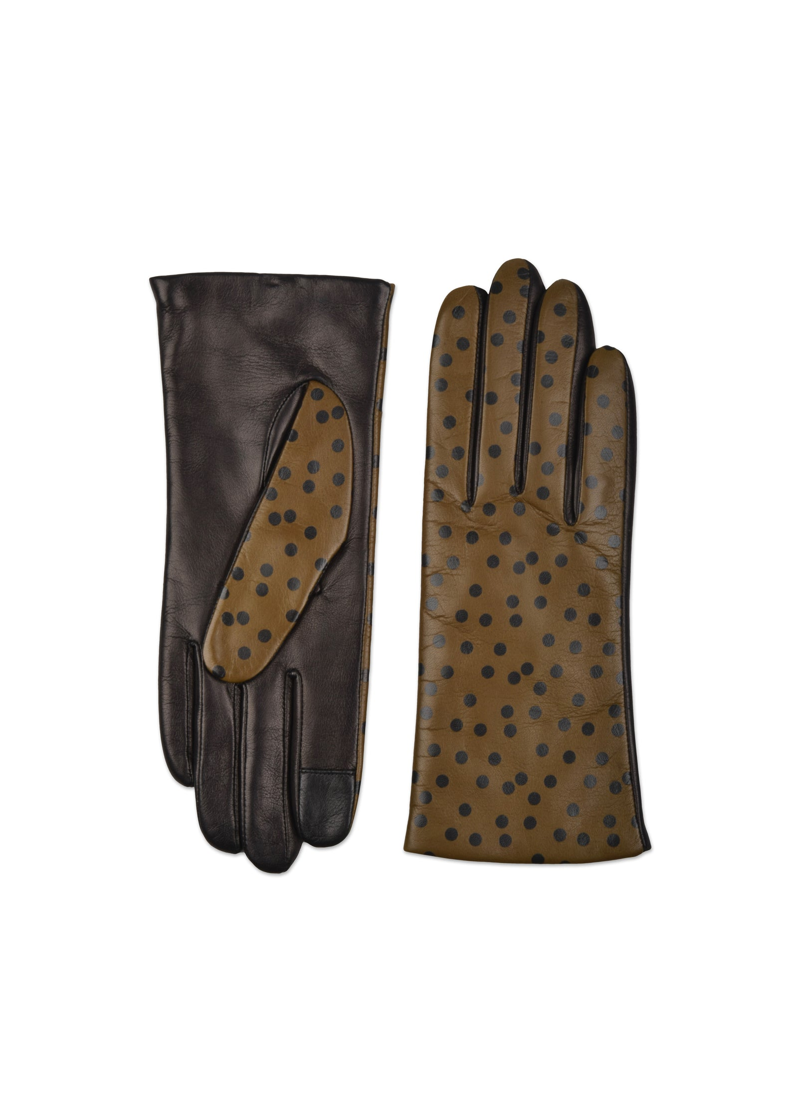 womens olive lambskin cashmere blend lined wrist length glove