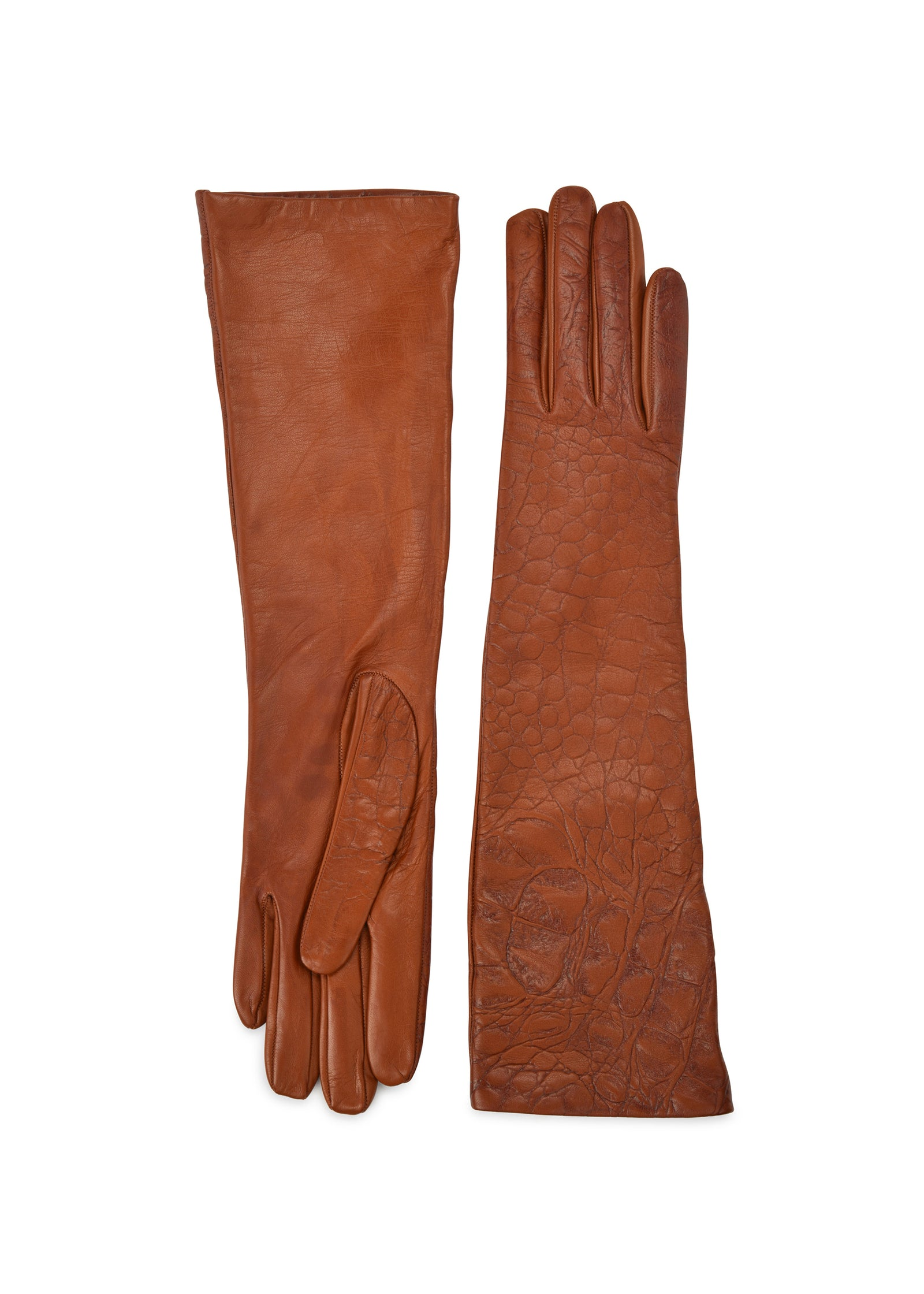 womens natural croco embossed lambskin silk lined elbow length glove made in Italy