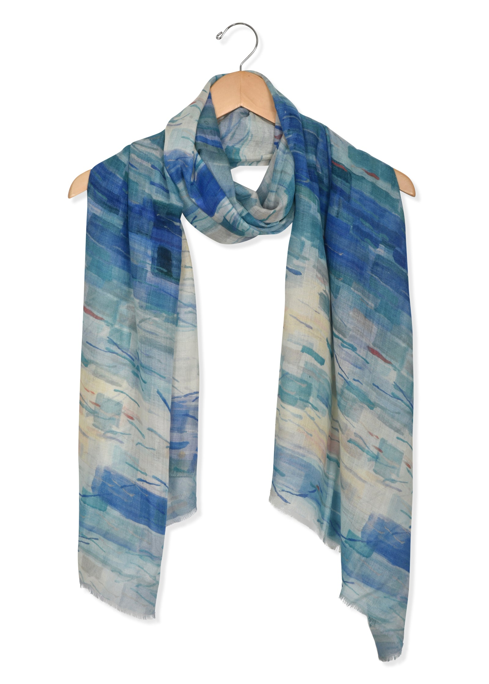 womens blue modal scarf wrap