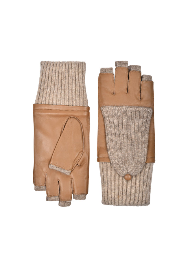 womens luggage lambskin cashmere blend lined wrist length glove
