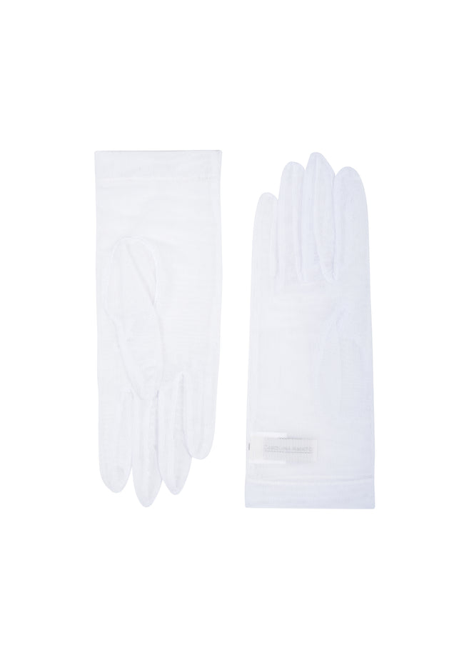 womens white net wrist length glove