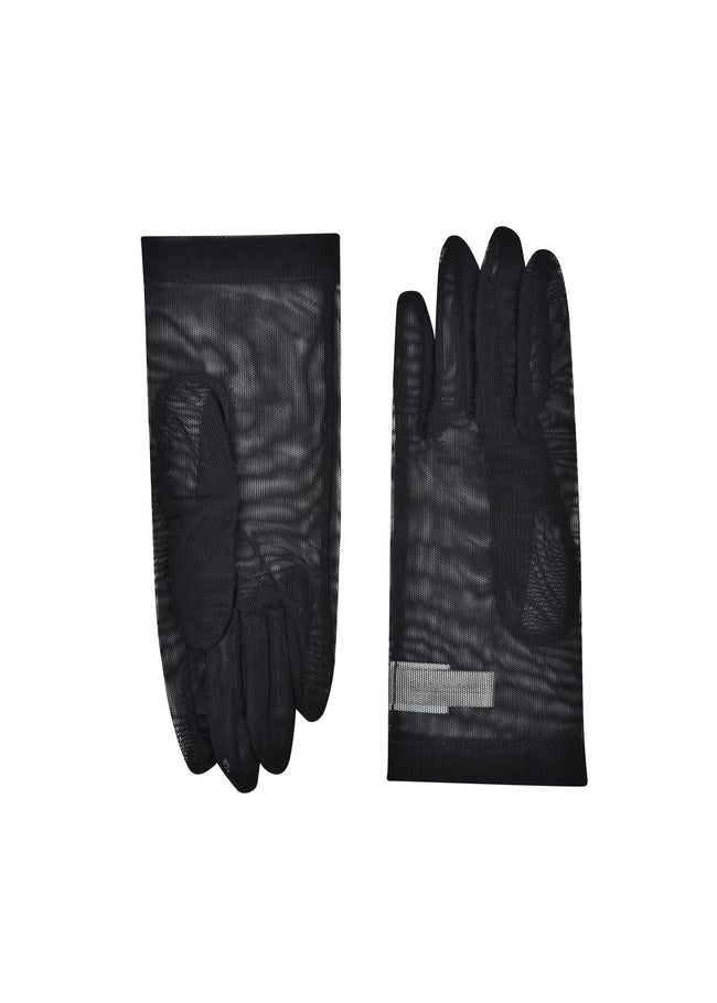 womens black net wrist length glove