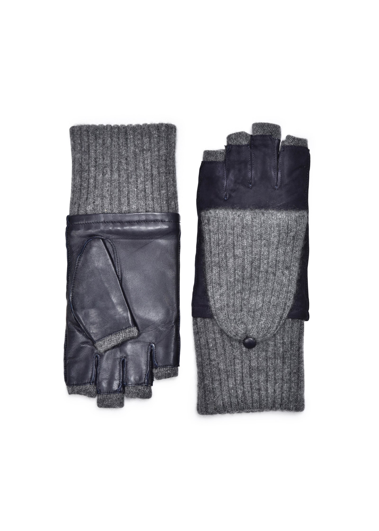 womens navy lambskin /suede cashmere blend lined wrist length glove