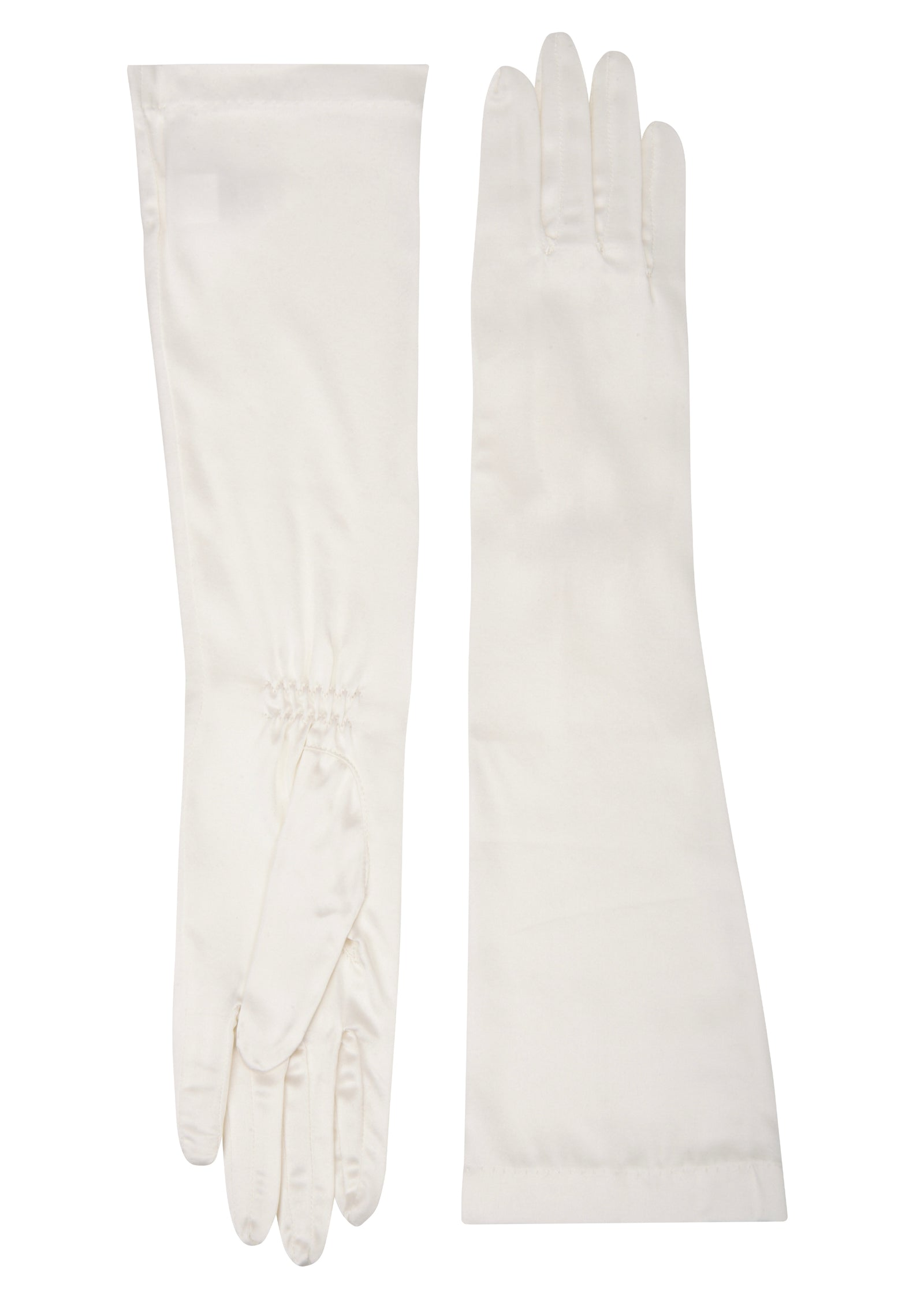 womens white silk elbow length glove