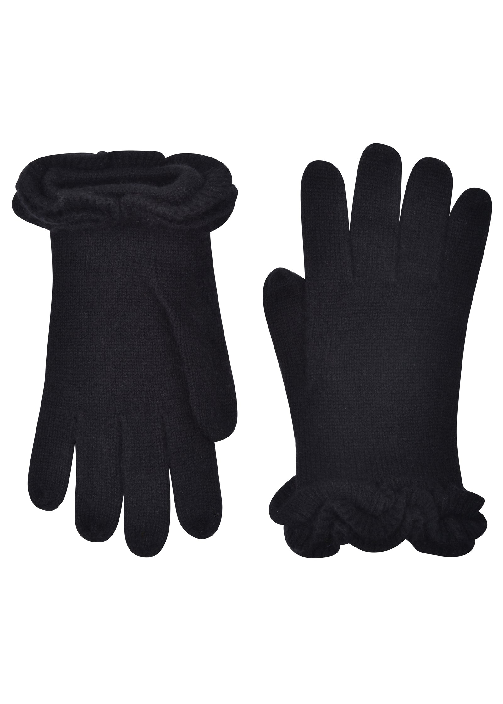 womens black cashmere blend wrist length glove