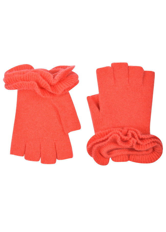 Ruffle Finger less in Coral
