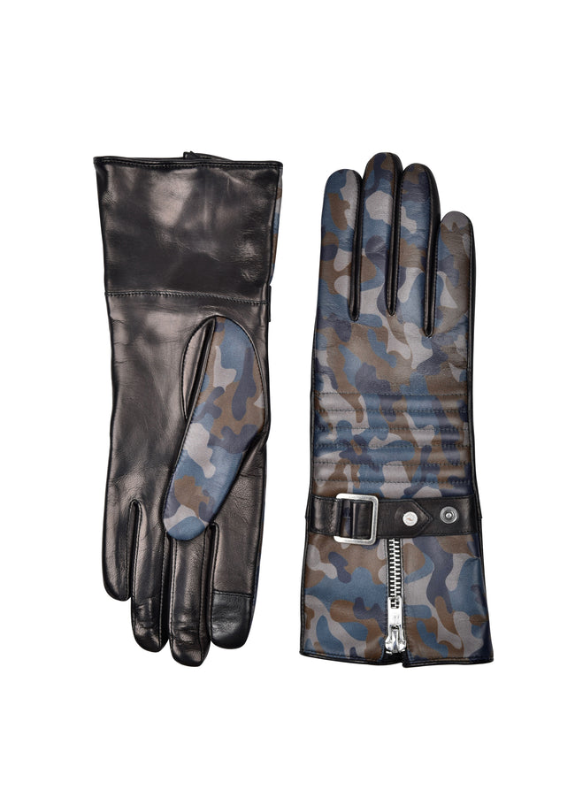 womens camouflage lambskin cashmere blend lined over the wrist length glove