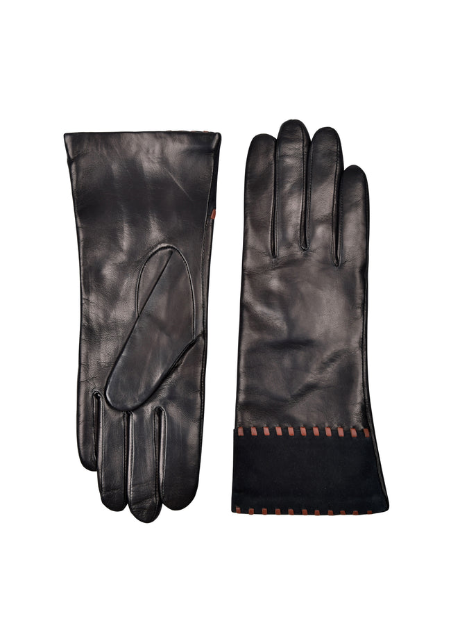 womens black lambskin cashmere blend lined over the wrist glove