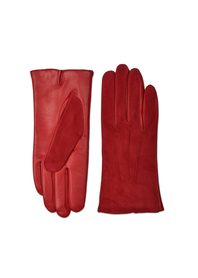 womens red lambskin suede cashmere blend lined wrist length glove