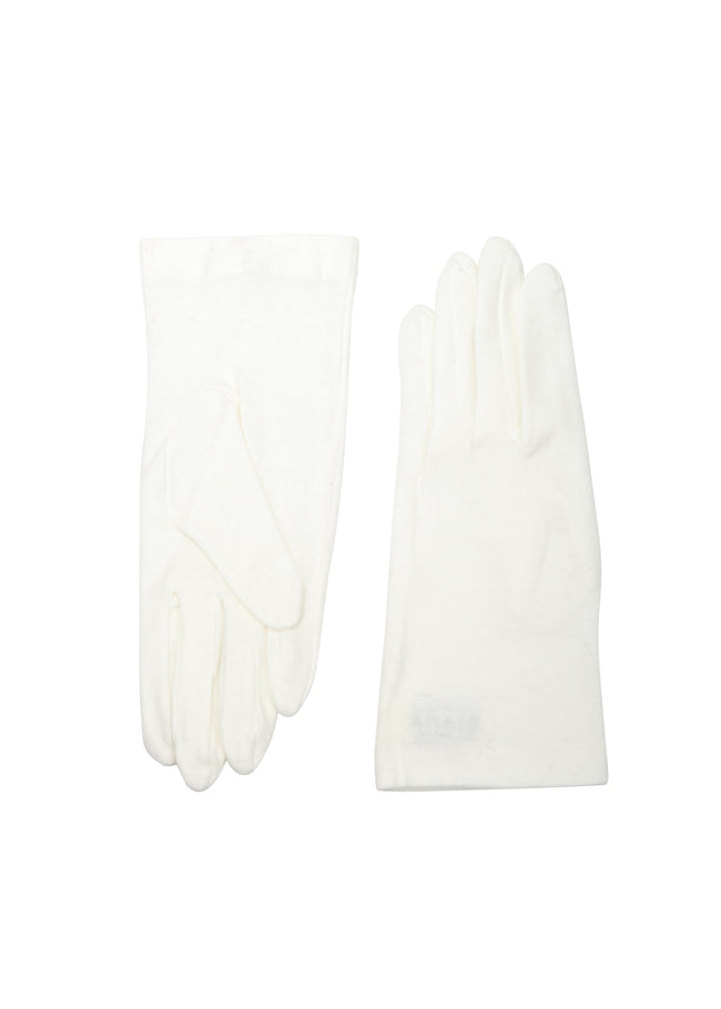womens white cotton wrist length glove