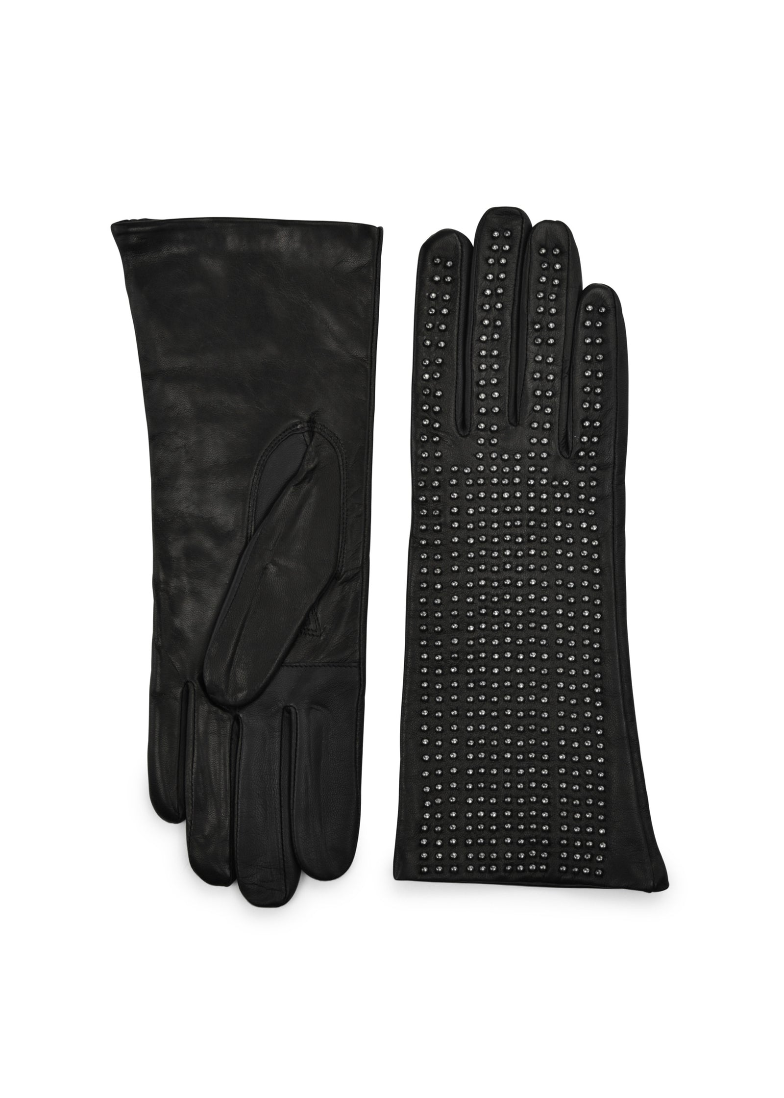 womens black lambskin wool and cashmere lined over the wrist glove