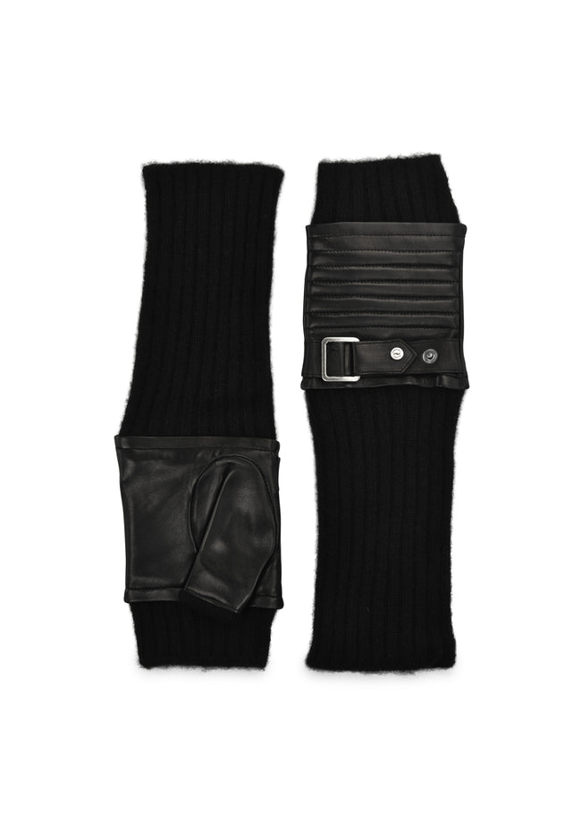 womens black knit leather wool / cashmere lined under the elbow length glove
