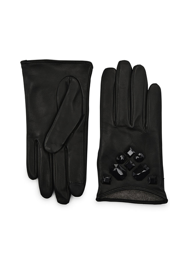 womens black lambskin cashmere blend lined wrist length glove
