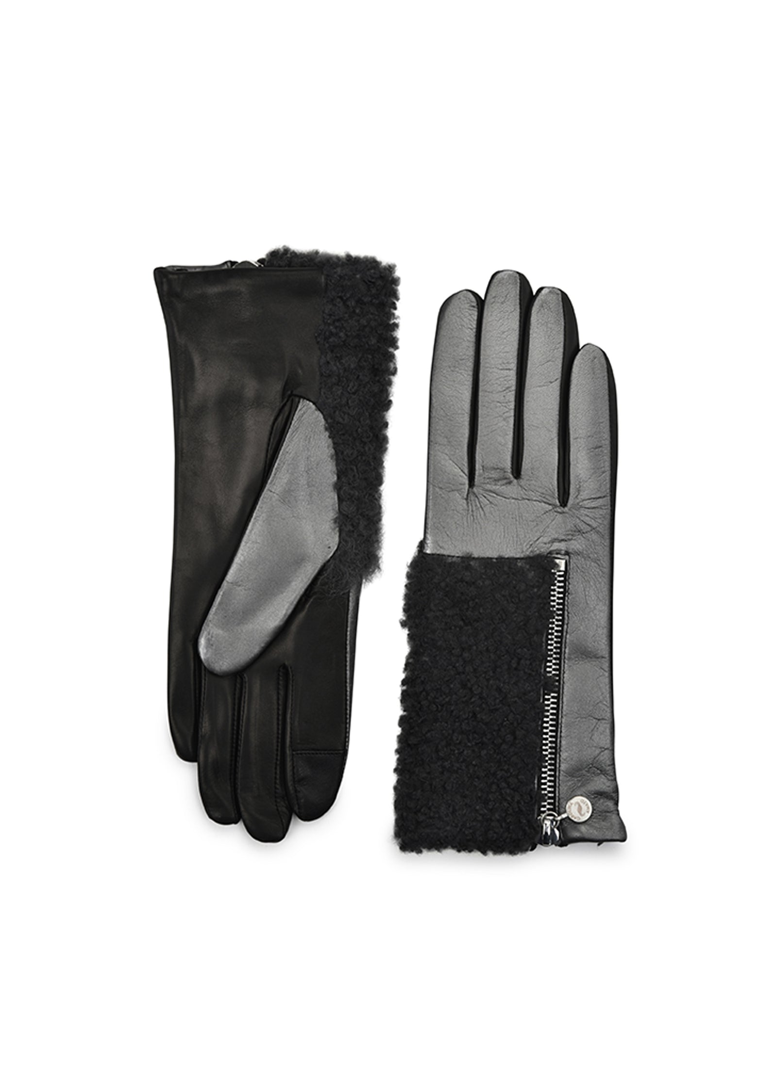 womens brush metal lambskin wool and cashmere lined wrist length glove