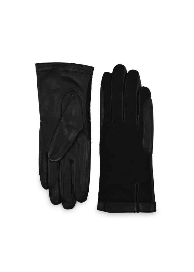 womens black rayon and leather wrist length glove