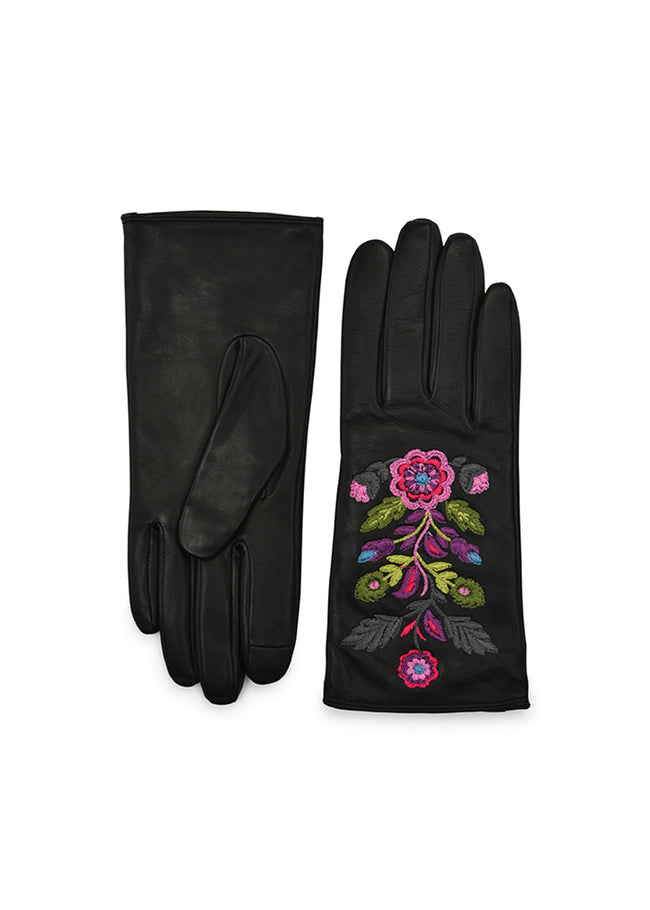 womens black lambskin wool and cashmere lined wrist length glove