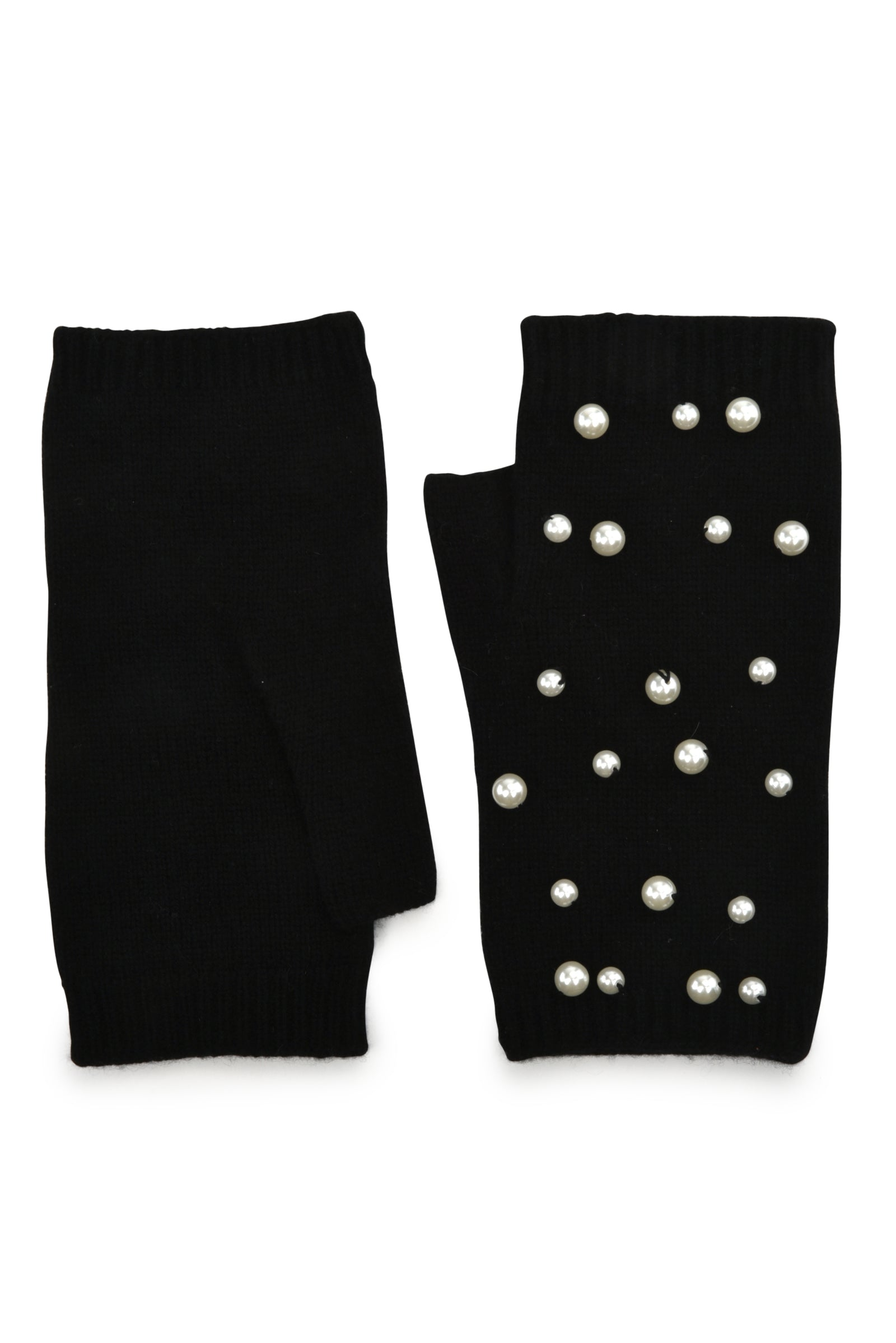 womens black cashmere blend wrist length fingerless glove