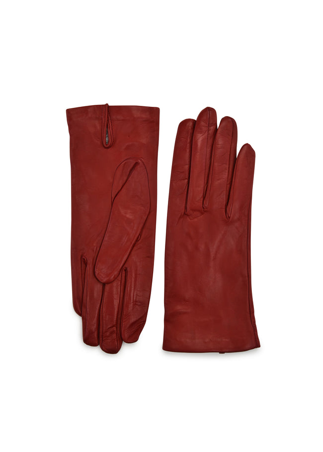womens red lambskin silk lined wrist length glove made in Italy